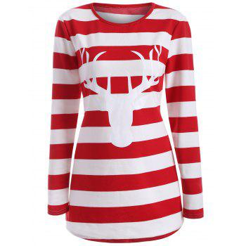 Striped Elk Print T-Shirt - RED RED