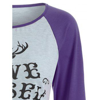 Raglan Sleeve Christmas Print T-Shirt - PURPLE PURPLE