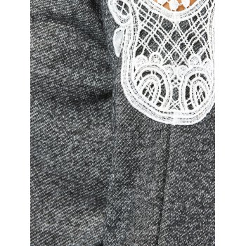Lacework Splicing Cold Shoulder Sweatshirt - DEEP GRAY DEEP GRAY