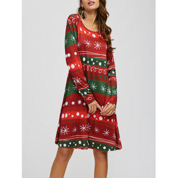 Snowflake Print Long Sleeves A-Line Dress - RED AND GREEN ONE SIZE