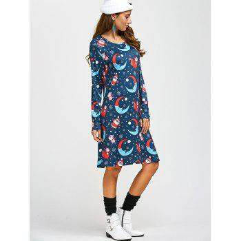 Santa Moon Print A-Line Dress - ONE SIZE ONE SIZE
