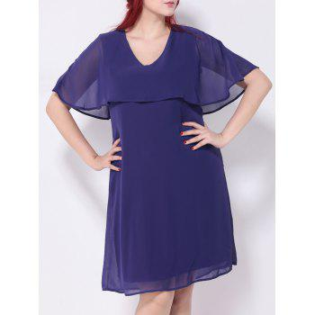 Short Sleeves Capelet Chiffon Dress