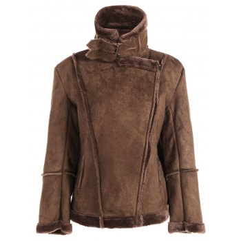 Fleece Lining Faux Suede Jacket