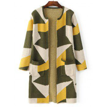 Geometric Pattern Pocket Sweater Cardigan