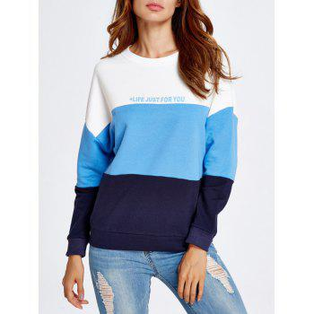 Life Letter Color Block Sweatshirt