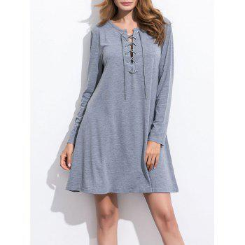 Front Lace Up Knitted Dress