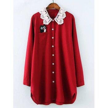 Plus Size Owl Lace Crochet Collar Tunic Shirt