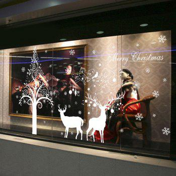 Merry Christmas Deer Removable DIY Showcase Wall Stickers