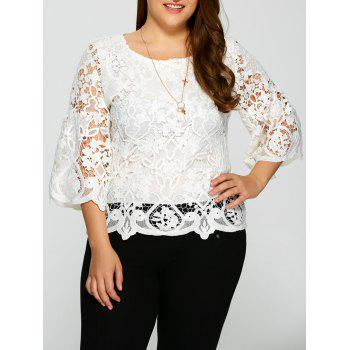 Plus Size Bell Sleeve Sheer Lace Blouse
