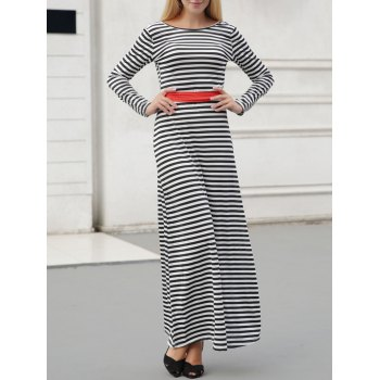 Long Sleeve Casual Maxi Striped Backless Dress