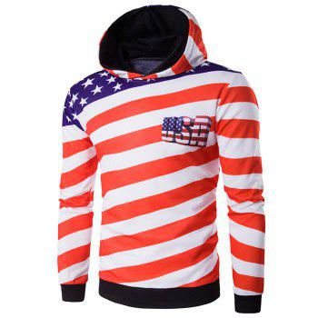 3D Star USA Flag Printed Pullover Hoodie