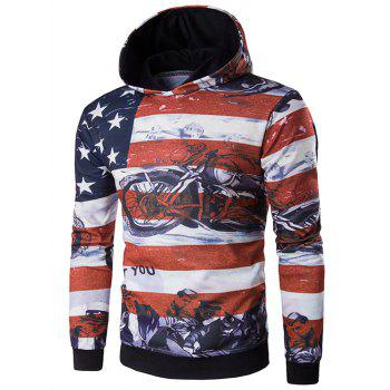 USA Flag Star Motorcycle Print Long Sleeve Hoodie