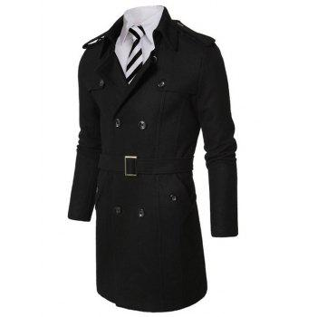 Epaulet Adorn Double Breasted Wool Coat