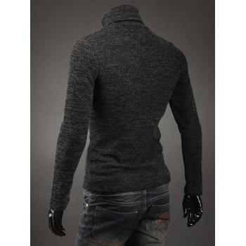 Button Adorn Turtleneck Sweater - DEEP GRAY M