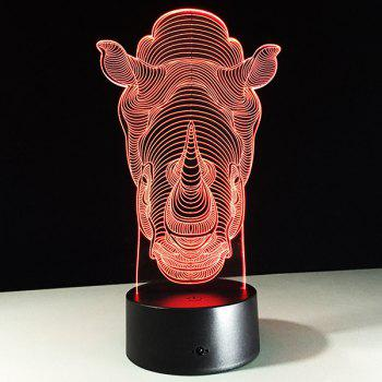 3D Rhino 7 Color Touch Changing Night Light - TRANSPARENT