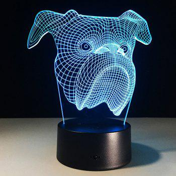 3D Dog Head 7 Color Touch Changing Night Light - TRANSPARENT