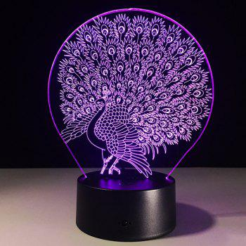 3D Peacock 7 Color Touch Changing Night Light