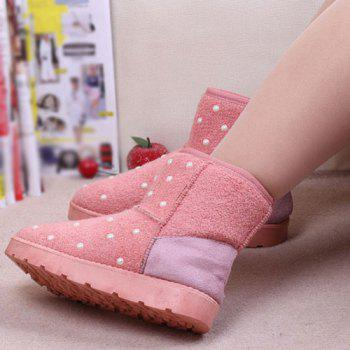 Beading Fuzzy Snow Boots - PINK 39