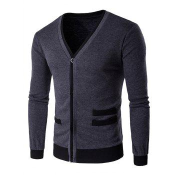 Single-Breasted V-Neck Selvedge Spliced Knitting Cardigan