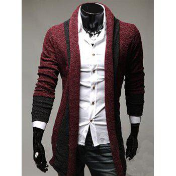 Longline Color Block Panel Knitting Cardigan
