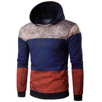 Buy Color Block Spliced Rust Print Hoodie COLORMIX
