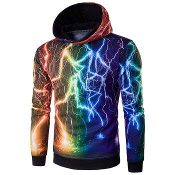 3D Colorful Lightning Print Hoodie