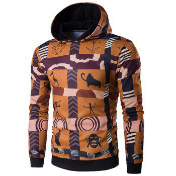 Buy 3D Ethnic Style Totem Print Hoodie COLORMIX