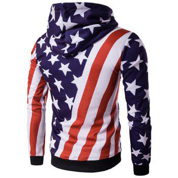 3D Stars and Oblique Stripes Print Hooded Hoodie - COLORMIX M