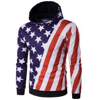 3D Stars and Oblique Stripes Print Hooded Hoodie