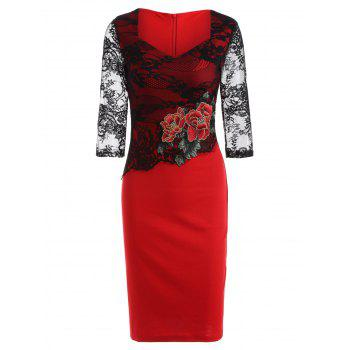 Rose Embroidered Lace Spliced Pencil Dress