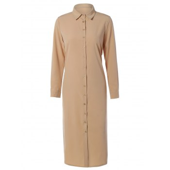 Casual Long Sleeve Maxi Shirt Dress