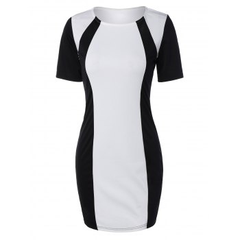 Color Block Half Sleeve Mini Bodycon Dress