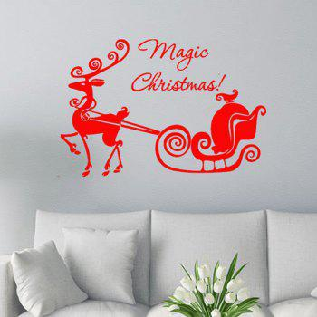 Magic Christmas Glass Window Removable Wall Stickers - RED