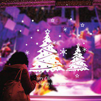 Snowflake Christmas Tree Glass Window Removable Wall Stickers - WHITE
