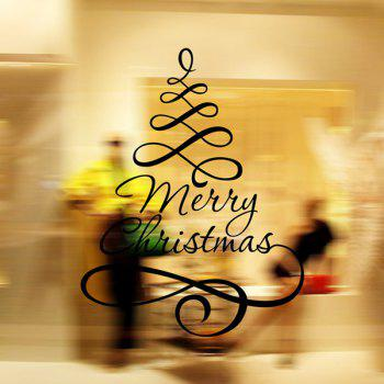 Merry Christmas Ribbon Removable Glass Window Wall Stickers - BLACK