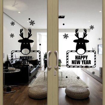 Christmas Deer New Year Removable Festival Door Wall Stickers