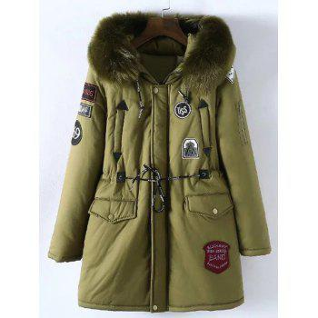 Plus Size Patched Fur Hooded Parka Coat