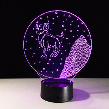 3D Visual Color Changing Aries Shape Touch LED Night Light - COLORFUL