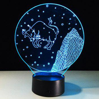 3D Visual 7 Color Changing Taurus Shape Touch LED Night Light - COLORFUL