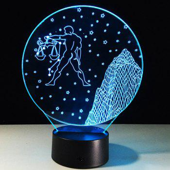 3D Visual 7 Color Changing Libra Shape Touch LED Night Light - COLORFUL