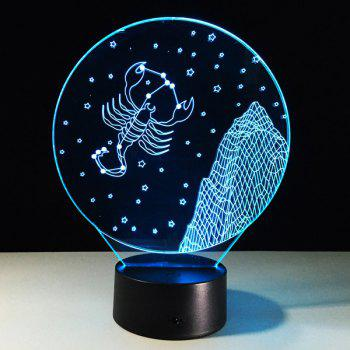 3D Visual 7 Color Changing Scorpio Shape Touch LED Night Light - COLORFUL