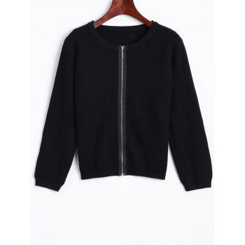 Puff Sleeve Zip Up Knit Cardigan