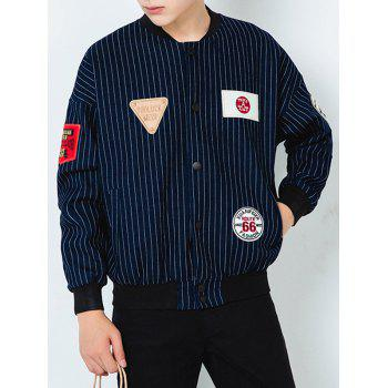 Vertical Stripe Stand Collar Applique Denim Jacket
