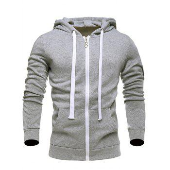 Hooded Zip-Up Drawstring Hoodie