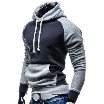 Color Block Splicing Design Hooded Drawstring Hoodie