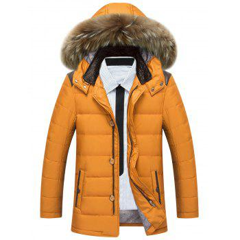 Detachable Faux Fur Hood Zippered Padded Jacket