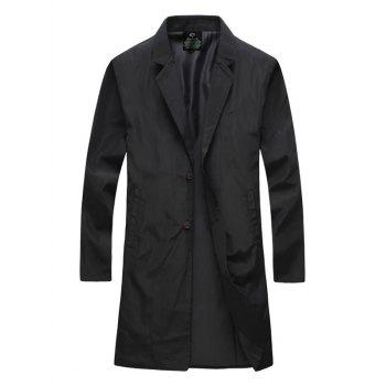 Single Breasted Notch Lapel Side Pocket Coat
