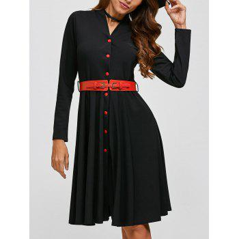 Single-Breasted Belted Dress