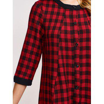 Checked Single-Breasted A-Line Dress - RED RED