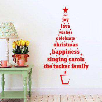 Christmas Multicolor Wishes Tree Removable Glass Window Wall Stickers - RED RED